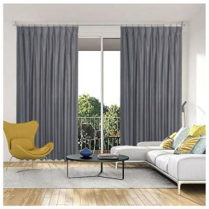 Monterey Blockout Pinch Pleat Curtains Pewter Pair of 2