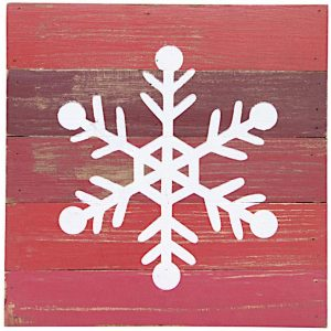 Rustic Snowflake Dasher Wall Decor Wood Red/White Mes Homewares