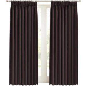 2 x Blackout Curtains Pair with Tie-backs - Blockout Window Curtain Draperies for Bedroom Living Room Sliding Glass Door Pencil Pleat Soft ThickBrown
