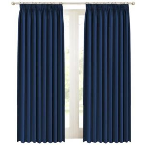 2 x Blackout Curtains Pair with Tie-backs - Blockout Window Curtain Draperies for Bedroom Living Room Sliding Glass Door Pencil Pleat Soft ThickNavy