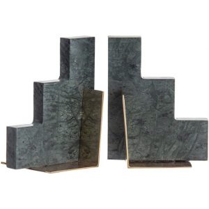 Stepwell Set of 2 Marble Bookends Green/Antique Brass Amalfi