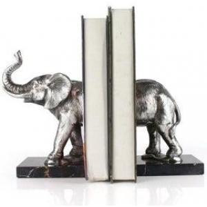 Silver Elephant Bookends