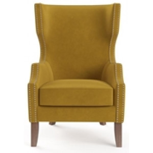 Alec Wingback Armchair Yellow Gold