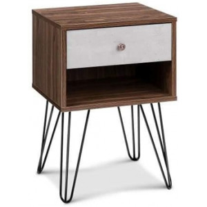 Artiss Bedside Table with Drawer - White & Walnut