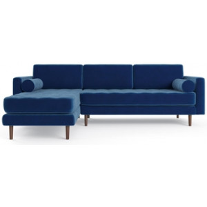 Frank 3 Seater Modular Sofa with Chaise Ocean Blue Left Chaise