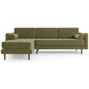 Frank 3 Seater Modular Sofa with Chaise Olive Green Left Chaise