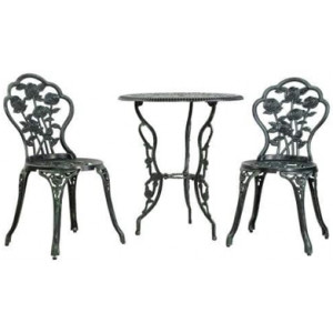 Gardeon Outdoor Furniture Chairs Table 3pc Aluminium Bistro Green