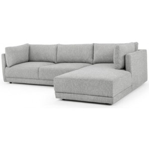 Kerry 3 Seater Right Chaise Fabric Sofa - Dark Texture Grey by Interior Secrets - AfterPay Available