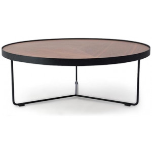 Luna 90cm Round Coffee Table - Walnut Top - Black Frame by Interior Secrets - AfterPay Available