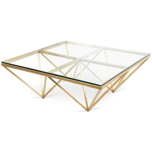 Tafari 1.05m Glass Square Coffee Table - Brushed Gold Base by Interior Secrets - AfterPay Available