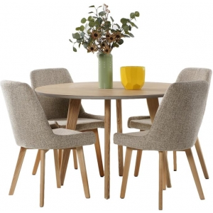 Alexandria 5PC Dining Set 4 Seater Round Dining Table 110cm Natural With Oak Fabric Dining Chairs