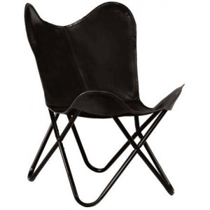 Butterfly Chair Real Leather Black Kids Size