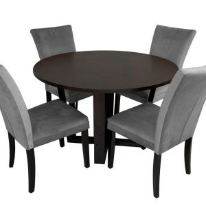 Daniella Arlie 5PC 4-Seater Dining Set Round Dining Table 120cm With Fabric Dining Chair Grey