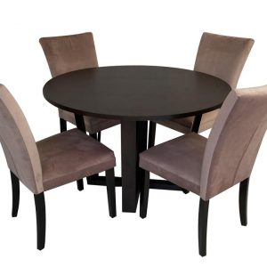 Daniella Arlie 5PC 4-Seater Dining Set Round Dining Table 120cm With Fabric Dining Chair Pink