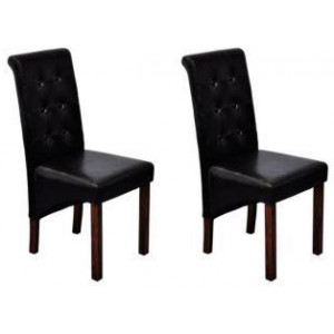 Dining Chairs 2 pcs Artificial Leather Black