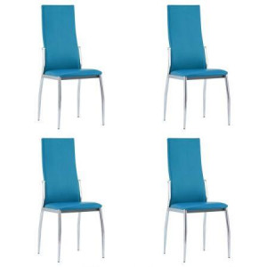 Dining Chairs 4 pcs Blue Faux Leather