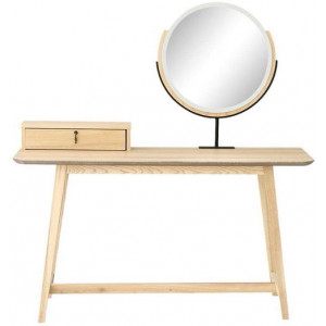 Epica 1-Drawer Console Dressing Table With Mirror - Natural