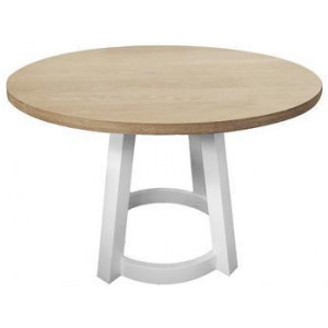 Havana Round Timber Dining Table 120cm - Natural/White