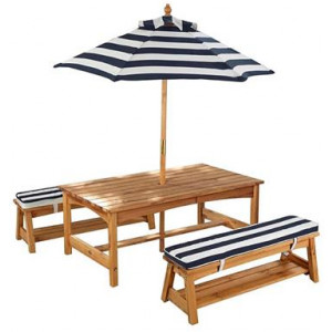 Kids' Outdoor Table & Bench Set with Cushions & Umbrella, Blue