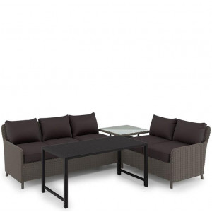 Levera 5 Seater Wicker Outdoor Sofa w/ Coffee Table - Taupe