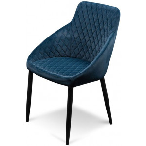 Rolf Dining Chair - Navy Blue Velvet in Black Legs by Interior Secrets - AfterPay Available