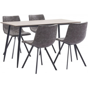 vidaXL 5 Piece Dining Set Brown Faux Leather
