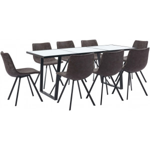 vidaXL 9 Piece Dining Set Brown Faux Leather