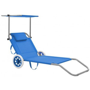 Folding Sun Lounger with Canopy and Wheels Steel Blue Outdoor Seating