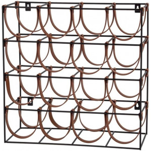 Orell 16 Bottles PU Leather Wine Rack - Tan by Interior Secrets - AfterPay Available