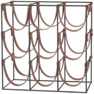 Orell 9 Bottles PU Leather Wine Rack - Tan by Interior Secrets - AfterPay Available