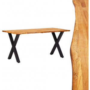 vidaXL Dining Table 160x80x75 cm Solid Oak Wood