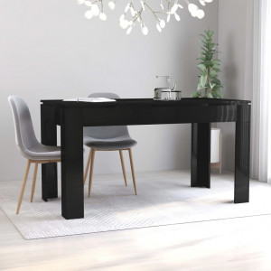vidaXL Dining Table High Gloss Black 140x70x76 cm Chipboard