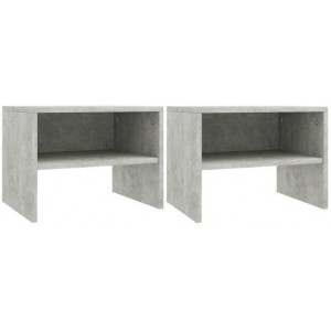 2x Bedside Cabinet Concrete Grey Chipboard Bedroom Nightstand End Table