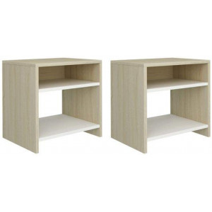 2x Bedside Cabinet White and Sonoma Oak Chipboard Bedroom End Table