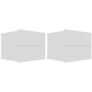 2x Bedside Cabinets High Gloss White 40x30x30cm Chipboard Nightstand