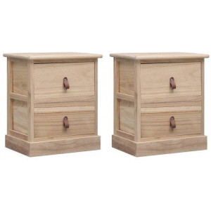 2x Nightstand Paulownia Wood 2 Drawers Bedside Cabinet Couch Side Table