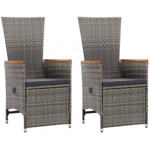 2x Reclining Garden Chair with Cushions Poly Rattan Grey Outdoor Seat