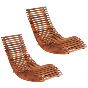2x Solid Acacia Wood Rocking Sun Loungers Outdoor Garden Chair Recliner