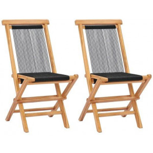 2x Solid Teak Wood Folding Garden Chair Rope Fabric Outdoor Seating