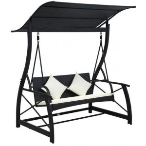 3-Seater Garden Swing Bench with Canopy Poly Rattan Black Porch Seat