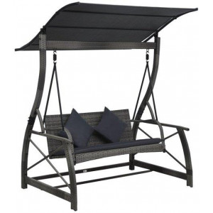 3-seater Garden Swing Bench with Canopy Poly Rattan Grey Porch Seat