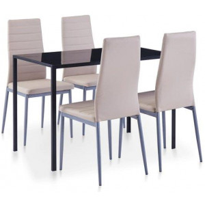 5 Pieces Dining Set Cappuccino 4 Chairs Tempered Glass Kitchen Table