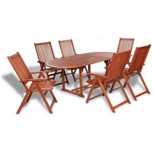 6 Seater Acacia Wood Dining Setting 7 Piece Table Folding Chair Set Brown
