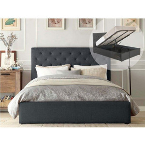 Double Size Gas Lift Storage Fabric Bed Frame (Marco Collection, Charcoal)