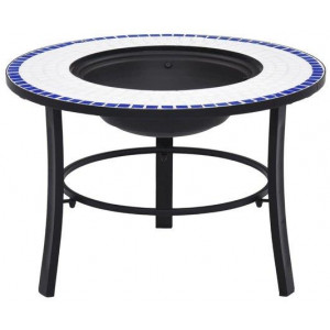 Mosaic Fire Pit Blue and White 68cm Ceramic Patio Outdoor Fireplace