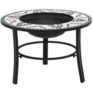 Mosaic Fire Pit Green 68cm Ceramic Patio Fire Bowl Outdoor Fireplace