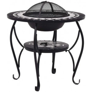 Mosaic Fire Pit Table Black and White 68cm Ceramic Backyard Fireplace
