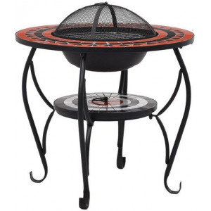 Mosaic Fire Pit Table Terracotta and White 68cm Ceramic Patio Fireplace