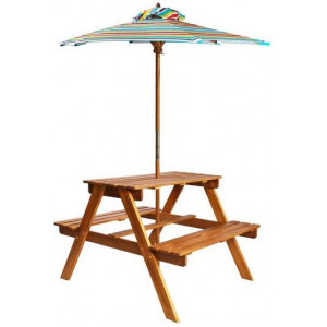 Solid Acacia Wood Kids Picnic Table with Parasol 79cm Child Bench Chair