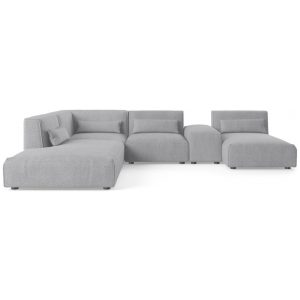 Drake 5 Seater Modular Sofa with Chaise and Ottoman Gainsboro Grey Gainsboro Grey Gainsboro Grey Left Chaise